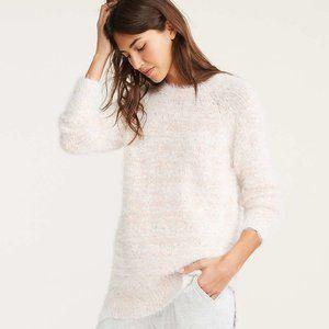 LOU & GREY cozy fuzzy white / pink sweater. NWT!